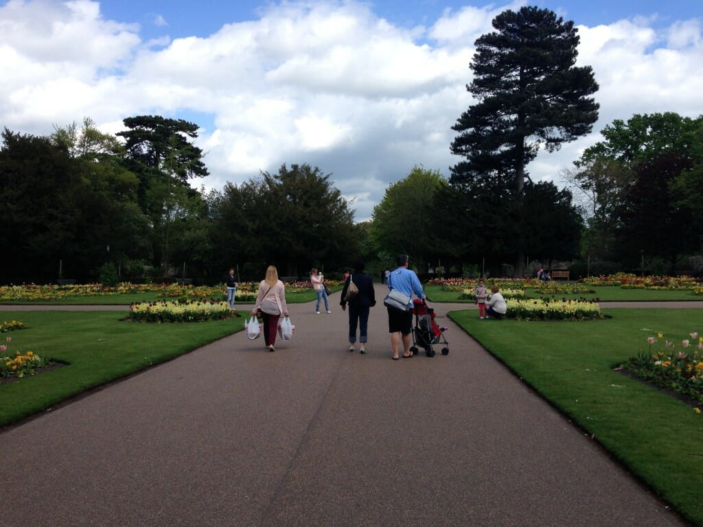 The formal gardens at Abbey Gardens are free and open to the public- whether you arrive on foot or by charter bus